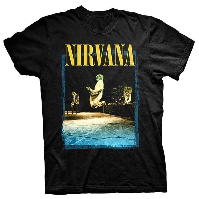 Nirvana Guitar Leap Kurt Cobain In Utero Rock Official Tee T-Shirt Mens Unisex (