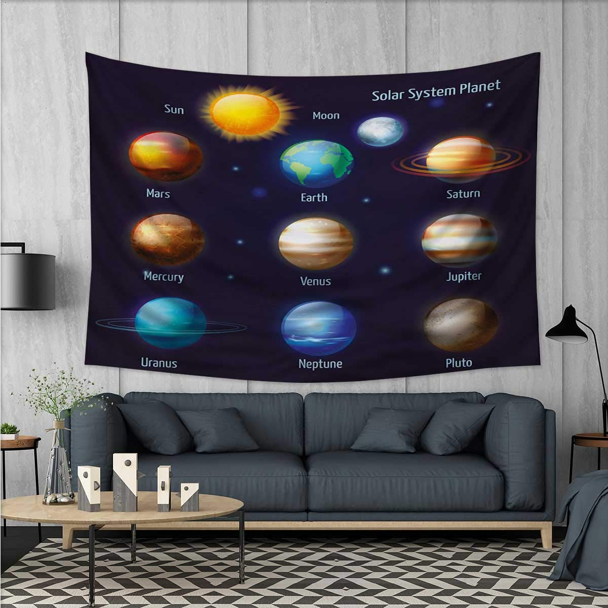 Anhuthree Educational Customed Widened Tapestry Solar System Planets and The Sun Pictograms Set Astronomical Colorful Design Wall Hanging Tapestry 90''x60'' Multicolor