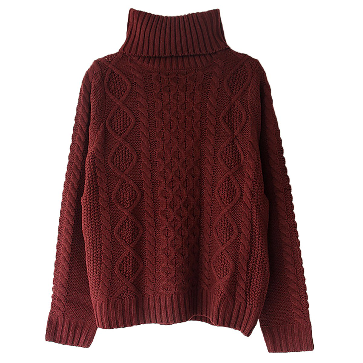 Women's Solid Turtleneck Long Sleeve Sweater Stretchy Cable Knit Outwear QiuLan