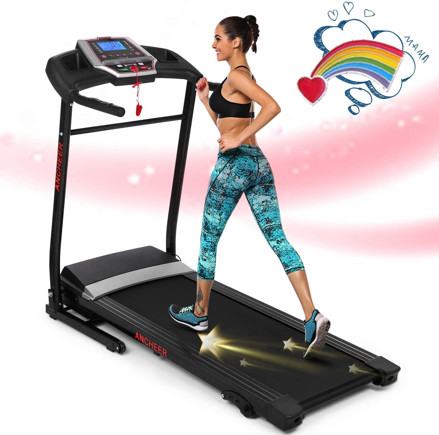 ANCHEER 2.25HP Folding Smart Electric Treadmill with Sports APP, 3 Level Manual Inclines