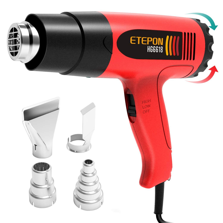 ETEPON Pistola de Aire Caliente 1800W / 120 ° F-1020 ° F Temperatura Ajustable con 4 Boquillas