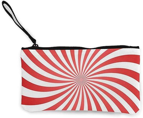 Bearget Espiral de Espiral Rojo Fondo Geométrico Lindo de Lona Cambio Monedero Bolsa de Bolsa con Cremallera Titular de la Muñeca Correa de Maquillaje Estuche para Mujeres Niñas Personalizado: Amazon.es: Hogar