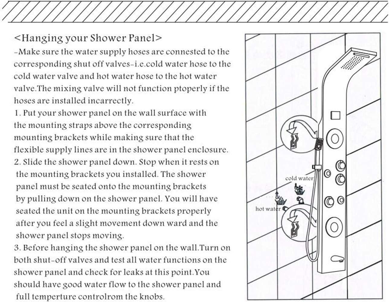 Brushed Nickel Shower Panel Tower Rain/&Waterfall Massage Body System Tap