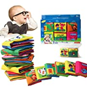 Wholethings Baby's First Fabric Book Soft Cloth Book(6 PCS),Baby Early Education Development Learning & Activity Toys for Kids Baby