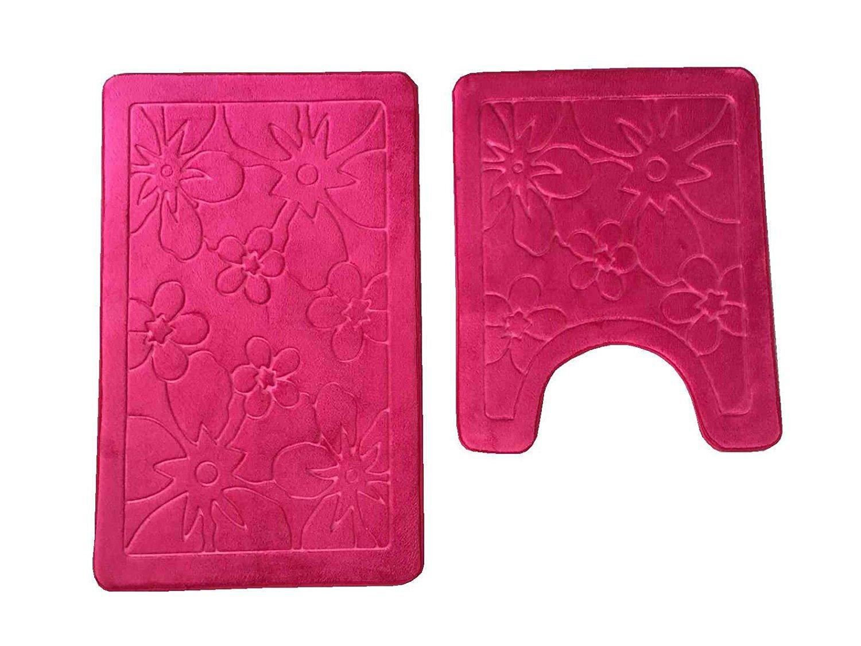 2 Piece Set Floral Memory Foam Bath Mat-Rectangle,Contour Mat,Non Slip Soft Microfiber Maximum Absorbency,Super Comfortable Burgundy-Floral HOMECHOICE AT-QG-2PCMAT-FLORAL-BGD