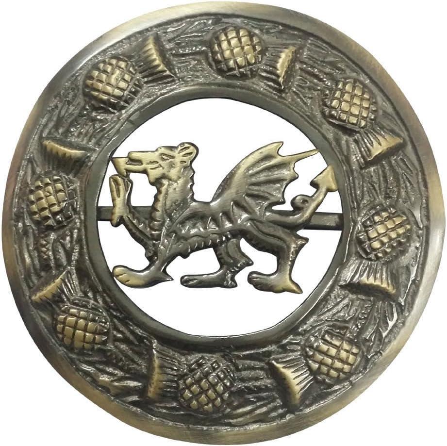 "Scottish Stag Head Kilt Fly Plaid Brooch Pin 3/"" Antique Highland Celtic Pins 4/"""