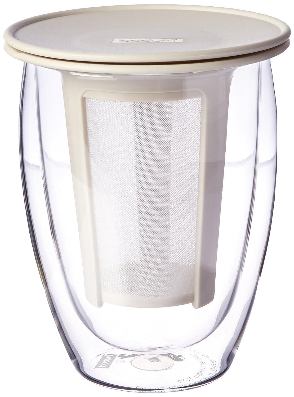 Bodum Tea For One Double 0.35-Liter Wall Glass Tea Strainer, 12-Ounce, Black K11153-01US