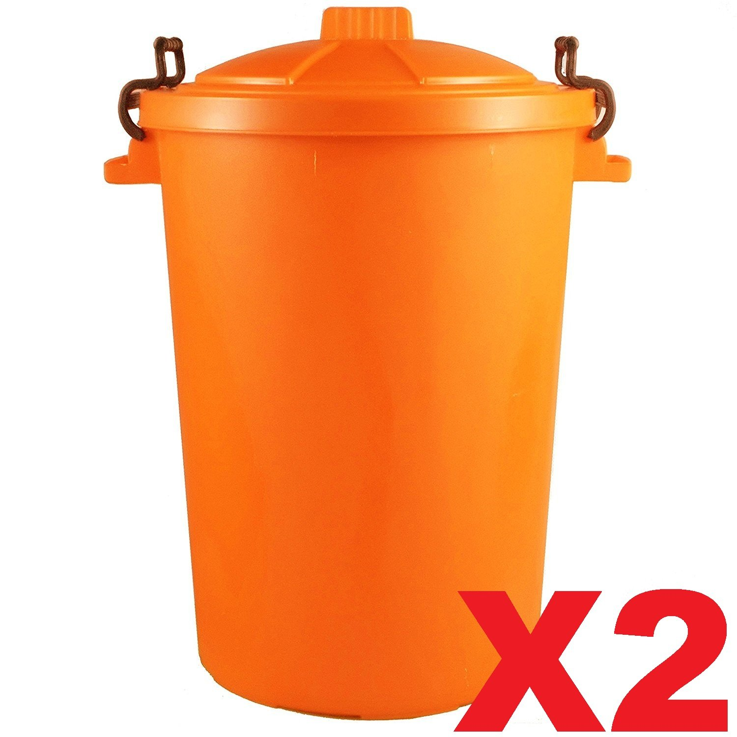2 x ORANGE 85 Litre 85L Extra Large Colour Plastic Dustbin Garden Bin Clip on Locking Lid Heavy Duty for Rubbish Recycle Waste Animal Feed Storage Unit UK