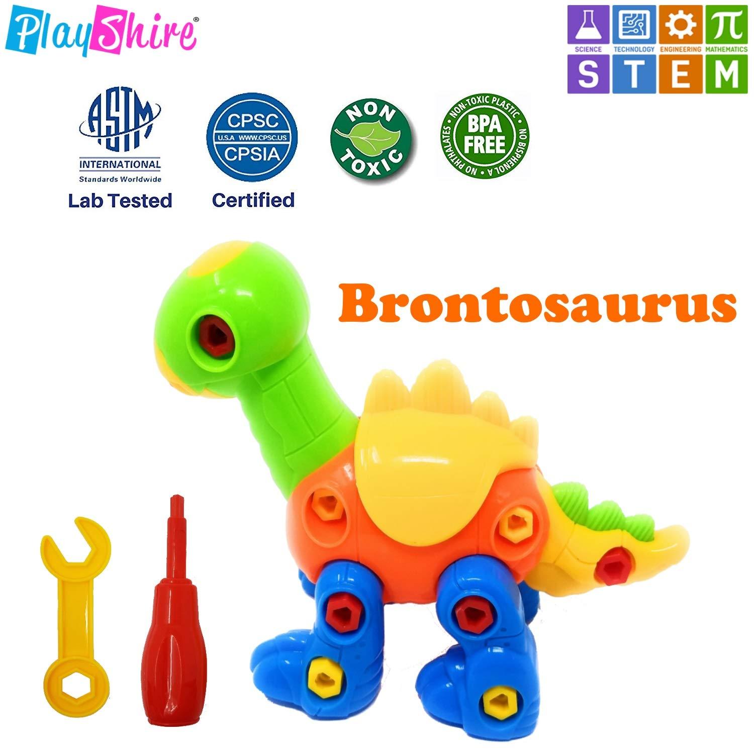 Stem Learning Pack of 3 Dinosaur Toys Take Apart Toys for 3-6-Year-Old Toddlers Free Doodle Book Included PlayShire® Fun /& Entertaining PlayShire Dinosaur Detachable Toys
