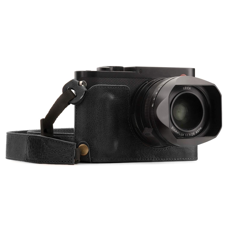 MegaGear Leica Q ( Typ 116 ) Ever Ready Genuineレザーカメラハーフケースとストラップ、withバッテリーアクセス – ブラック – mg1400  ブラック B078YQN5HN