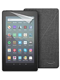 """Fire 7 Tablet (7"""" display, 16 GB) - Black + Amazon Standing Case (Charcoal Black) + Screen Protector (Clear)"""