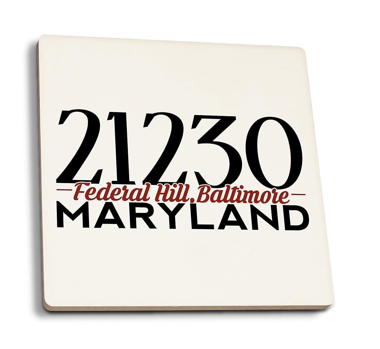 連邦ヒル、ボルチモア、メリーランド州 – 21230 Zipコード(ブラックとレッド) 4 Coaster Set LANT-76264-CT 4 Coaster Set  B01MXEOL8J