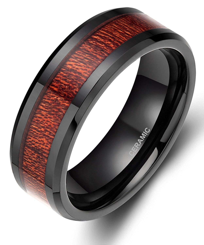 SOMEN TUNGSTEN 8mm Wood Inlay Ring for Men Black Ceramic Wedding Band Flat Style size 11.5