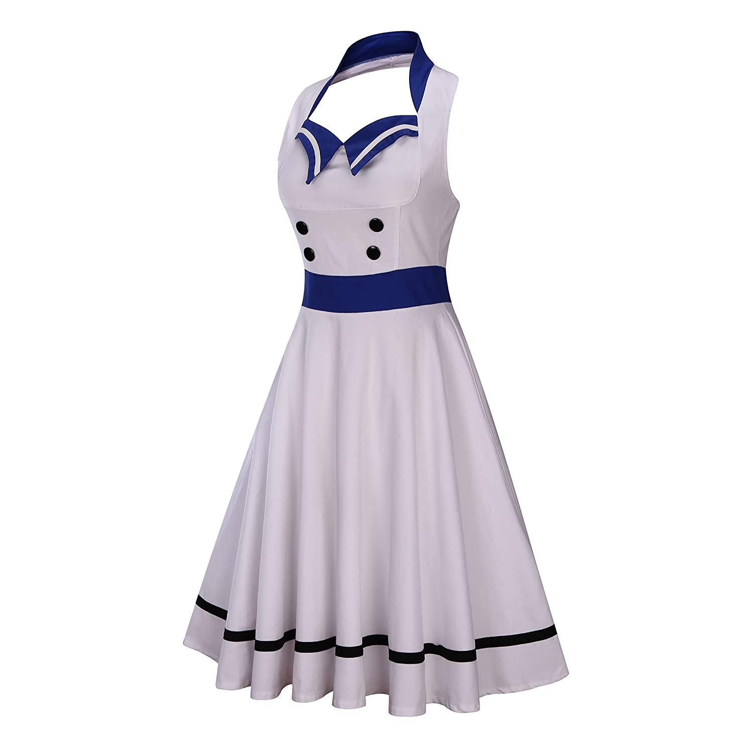 50s Costumes | 50s Halloween Costumes Wellwits Womens Vintage Pin Up Sailor Collar Halter Swing Dress $23.98 AT vintagedancer.com