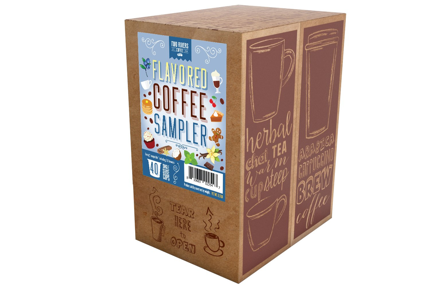 Two Rivers Flavored Coffee Single-Cup Sampler Pack for Keurig K-Cup Brewers, 40 Count by Two Rivers LLC (Image #2)