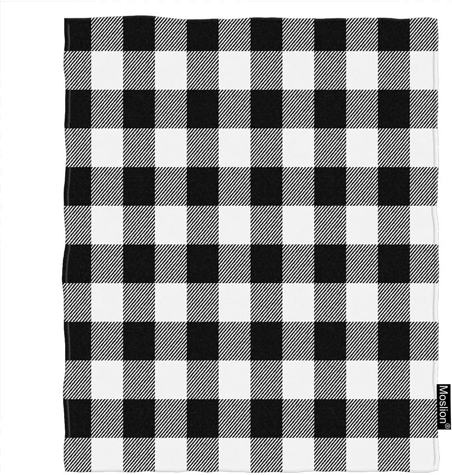 Amazon.com: Moslion Plaid Blanket Vintage White Black Gingham