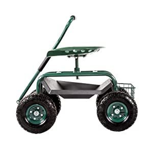 Garden Cart Rolling Work Seat Outdoor Utility Lawn Yard Patio Wagon Scooter for Planting Adjustable 360 Degree Swivel Seat Green