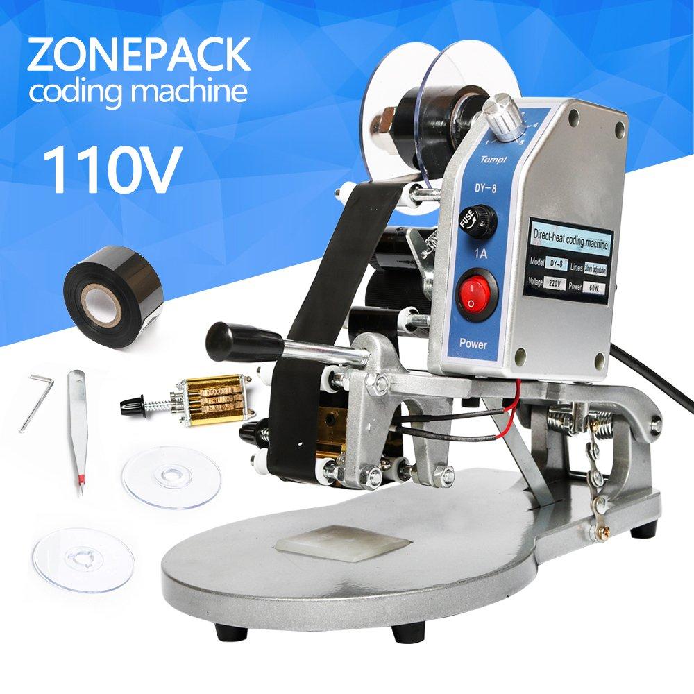 ZONEPACK DY-8 Date Printing Machine Hot Code Stamp Printer Semi Automatic Coding Machine 110V 40W by ZONEPACK (Image #1)