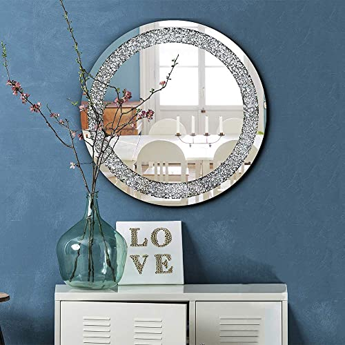qmdecor Crystal Crush Diamond Round Silver Mirror for Wall Decoration 23.5×23.5×1 inch Wall Hang Frame Less Mirror Acrylic Diamond D cor.