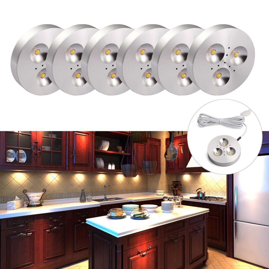 B-Right Set of 6 Under Cabinet LED Lighting, Puck Lights Total of 18W 1440lm, 3000K Warm White LED Closet Lights, Under Counter Lighting by B-right (Image #2)