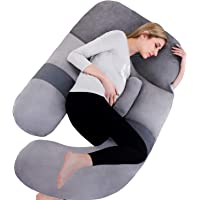 AS AWESLING 60in Full Body Pillow   Nursing, Maternity and Pregnancy Body Pillow   Extra Large U Shape Pillow and Lounger with Detachable Side, Separate Support Pillow and Removable Cover (Grey)…