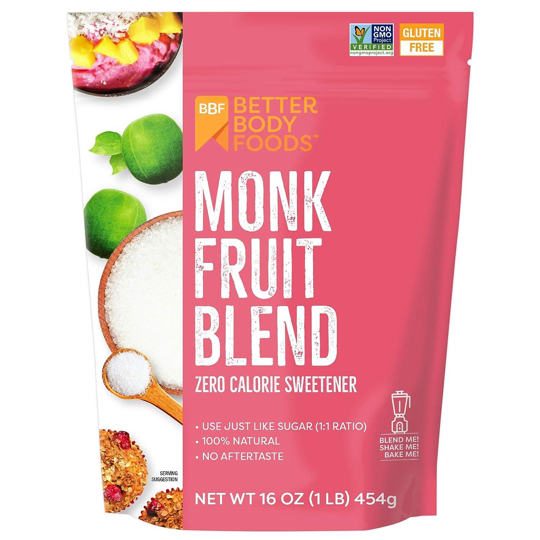 BetterBody Foods Monk Fruit Sweetener Blend, Sugar Substitute, 1 lb, 16 Oz
