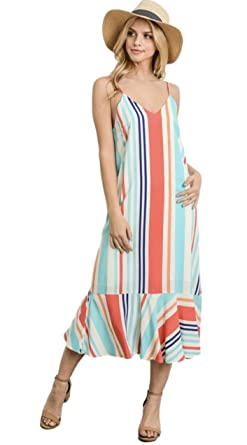 abfab9425f Gilli Women's Sleeveless V-Neck Striped Midi Dress with Spaghetti Straps  and Ruffled Hem (