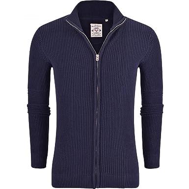37b3bfa3c80c Brave Soul Mens Zip Up Cardigan Fine Knit Cotton Jumper Sweater Cardi Full  Zip Funnel Neck Medium Blue  Amazon.co.uk  Clothing