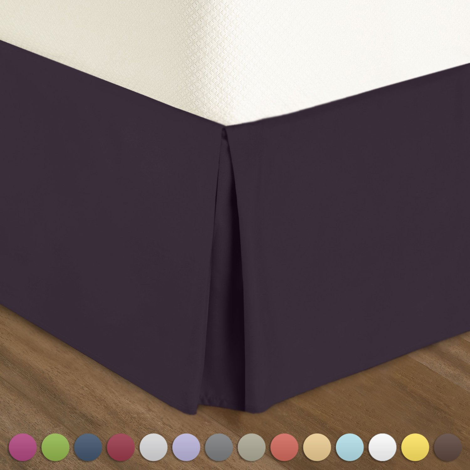 Pleated Bed-Skirt Queen Size – Dark Purple (Eggplant) Luxury Double Brushed
