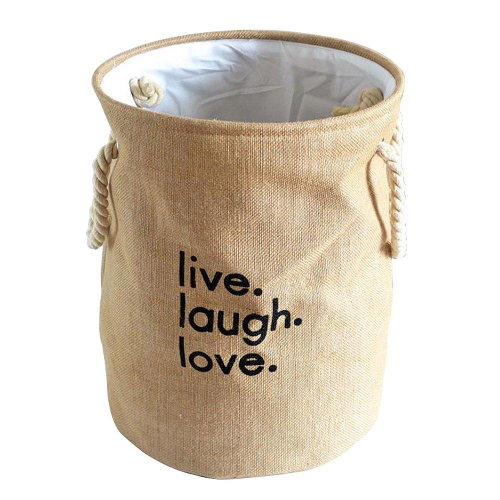 Fyore 100% naturale per biancheria iuta spago maniglia pieghevole grande resistente Baby nursery Storage Round bag 45*35cm, Cotone lino, Natural linen, 44*35cm SUN7FL227