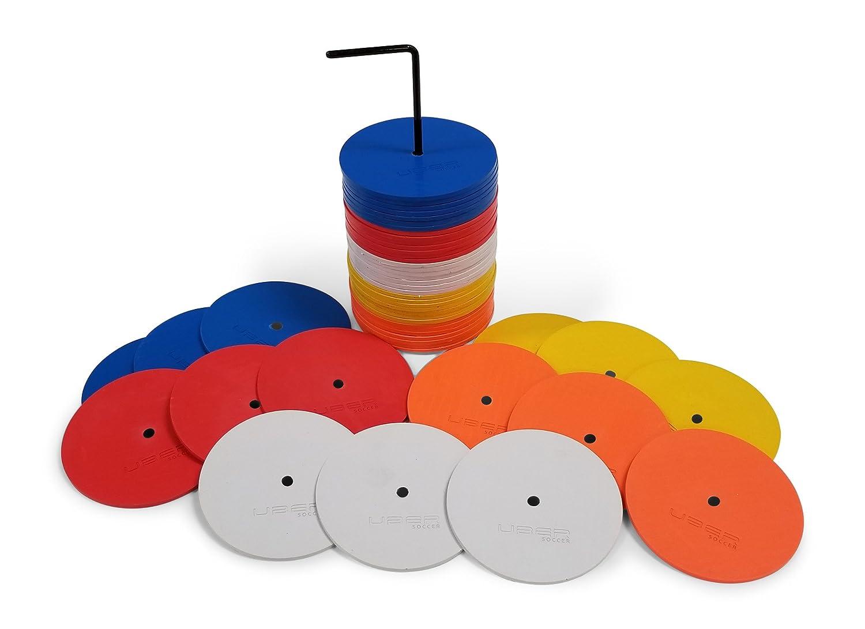 uBer Soccer Miniフラットスポットマーカーオレンジ、ホワイト、イエロー、レッド、ブルー – 50パック B07BYGDCBB