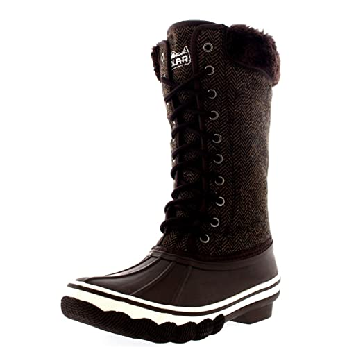 Womens Outdoor Cold Weather Winter Fold Down Snow Rain Boots