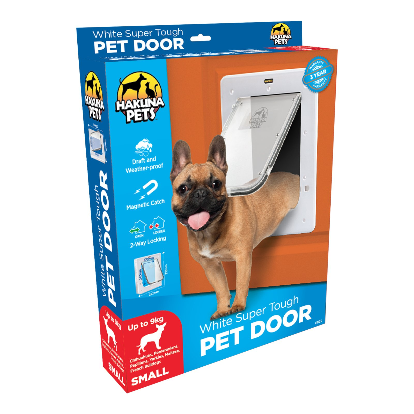 Hakuna Pets Super Tough Removable Dog & Cat Door w/Locks, Small, White