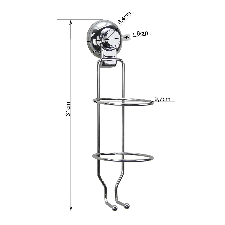 34x15x12cm Supporti per Asciugacapelli TAILI Porta Asciugacapelli a Muro con Ventosa Accessori Bagno Porta-phon in Acciaio Cromato