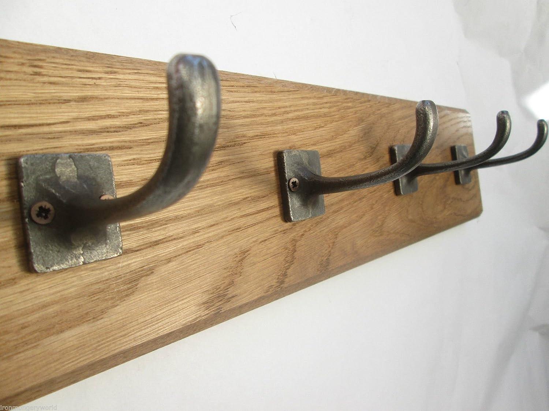 IRONMONGERY WORLD/®9 Sizes Solid Oak Wooden Coat Rack Hooks Hanger Utility Kitchen Rail Rack 84 2 Hooks 27CM