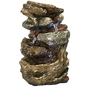 Sunnydaze Indoor Electric Tabletop Fountain with LED Lights - Decorative Tiered Rock and Log Waterfall Design - Quiet and Soothing Water Sound - Small 10.5 Inch Desktop Size