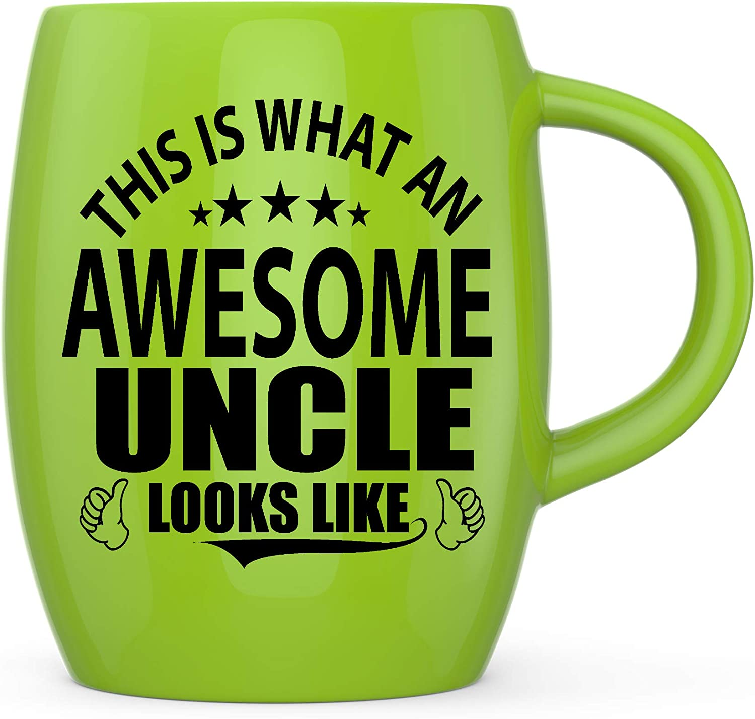 Father's Day Gifts for Uncles from Niece Nephew This Is What An Awesome Uncle Looks Like Funny Gag Gift for Christmas Birthday Ceramic Coffee Mug Tea Cup - Yellow Green