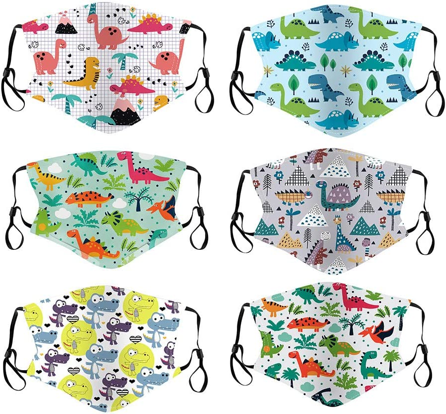 Kids Face Protective Covering Cloth Outdoor Dustproof,Cotton Mouth Macks Reusable Washable Floral Print Foggy,6 PCS