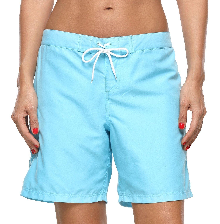 ATTRACO Women's Long Board Short Side Pocket Drawstring Swimwear Shorts Blue Large by ATTRACO (Image #6)
