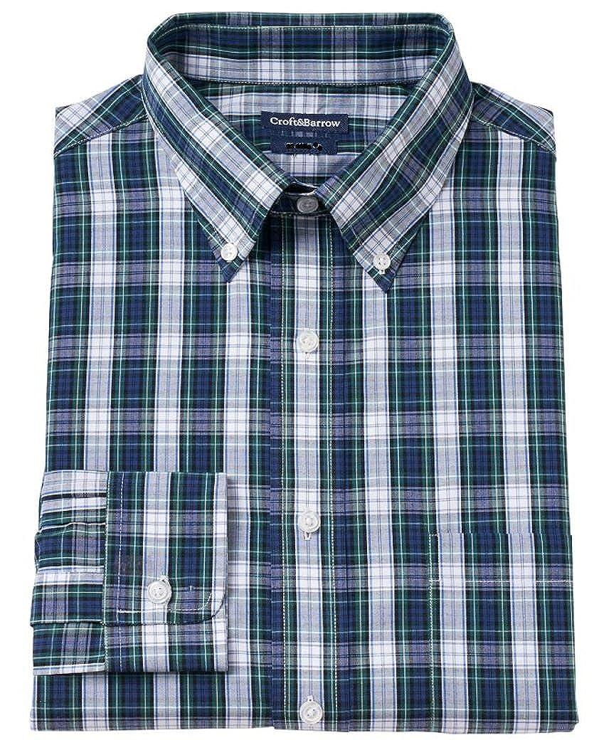 Croft /& Barrow Mens Classic Fit Dress Shirt Evergreen Tartan Plaid