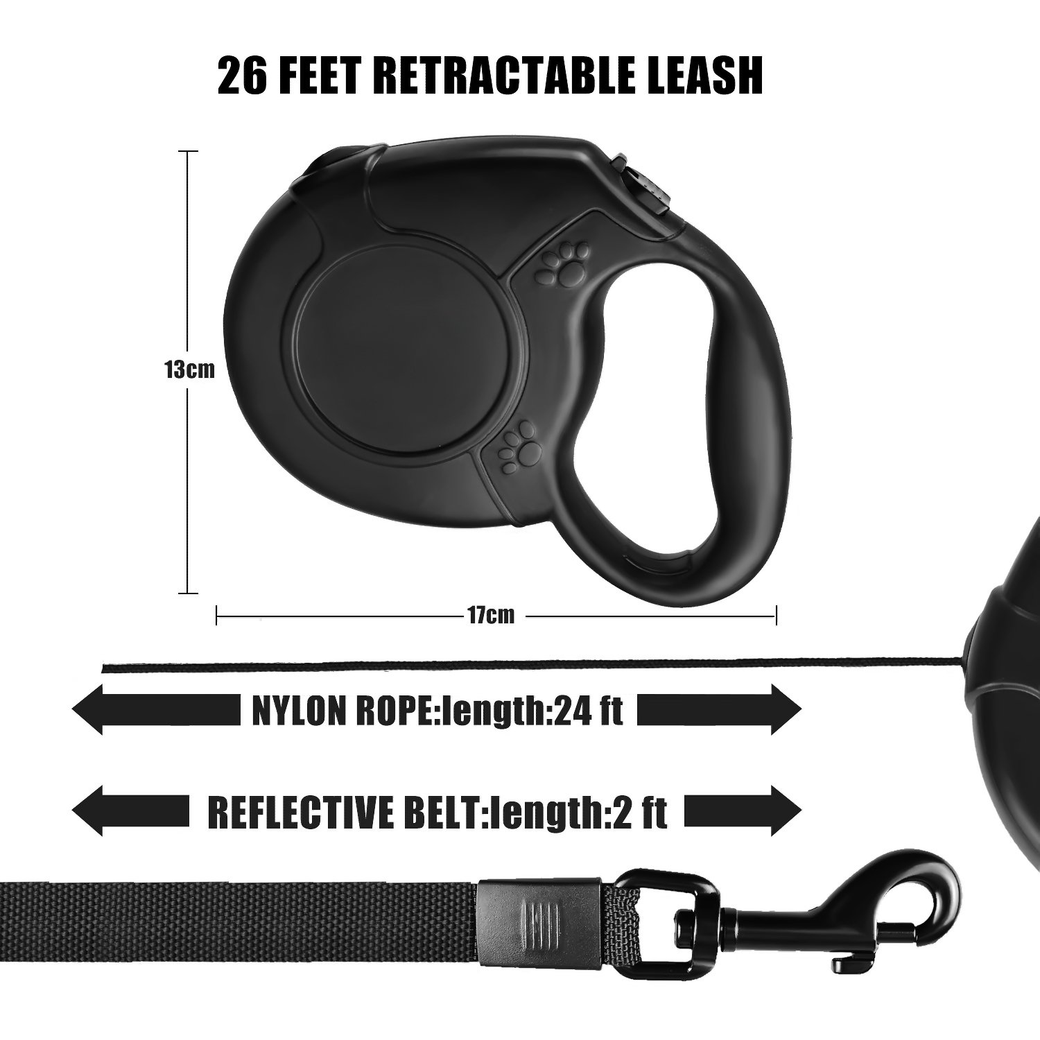 Retractable Dog Leash, FuPany Dog Walking Leash 26ft for Medium Large Dogs Up to 88lbs with Anti-Slip Handle (Black)