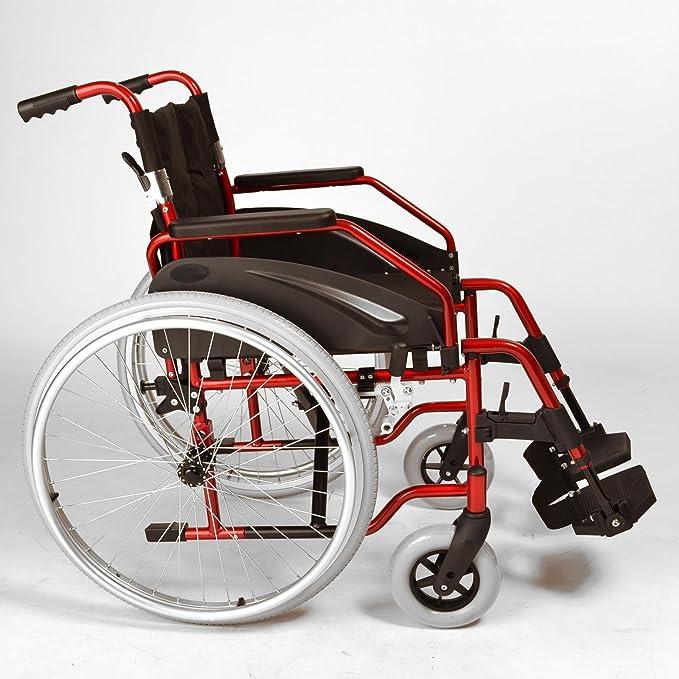 Ligera silla de ruedas plegable autopropulsión con ruedas de liberación rápida en rojo metálico ECSP03: Amazon.es: Salud y cuidado personal