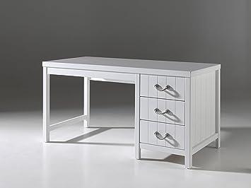 Vipack lewis bureau bois blanc: amazon.fr: cuisine & maison