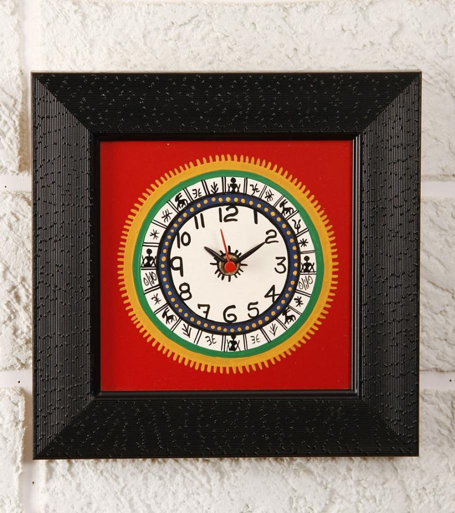 Unravel India Warli Hand Painted Wooden Wall Clock