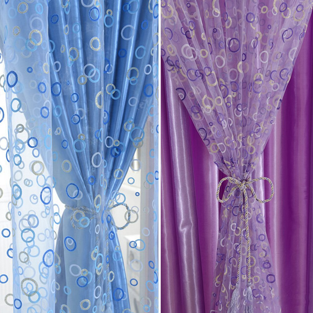 Amazon.com: Edal Circle Pattern Room Voile Window Curtains Sheer Panel  Drapes Scarfs Curtains Blue: Home U0026 Kitchen