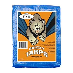 Grizzly Tarps 6 x 8 Feet Blue Multi Purpose Waterproof Poly Tarp Cover 5 Mil Thick 8 x 8 Weave