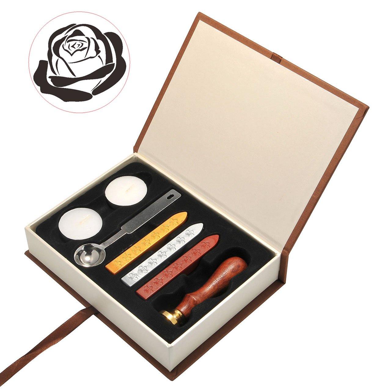 Mogoko Set retrò per sigillo con ceralacca, con timbro, in palissandro, sigillo decorativo, scuola di magia, distintivo, cera, cucchiaio, impugnatura in legno, personalizzato, set regalo cuore MMDE1207