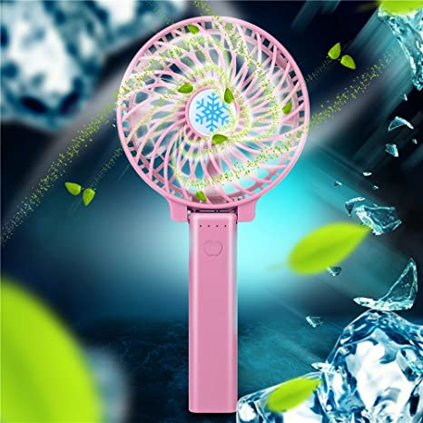 GONGting Mini Handheld Fan, Personal Portable Desk Stroller Table Fan with USB Rechargeable Battery Operated