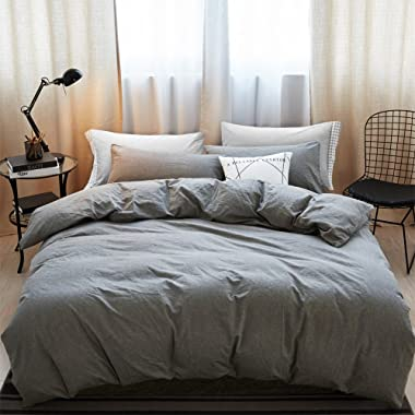 MooMee Duvet Cover Set 100% Washed Cotton Linen Like Soft Breathable Durable 3 Piece Home Bedding Set Solid Light Grey Queen