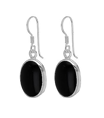 4d318c323 Tuscany Silver Women's Sterling Silver 11 x 14 mm Oval Black Onyx Drop  Earrings: Amazon.co.uk: Jewellery